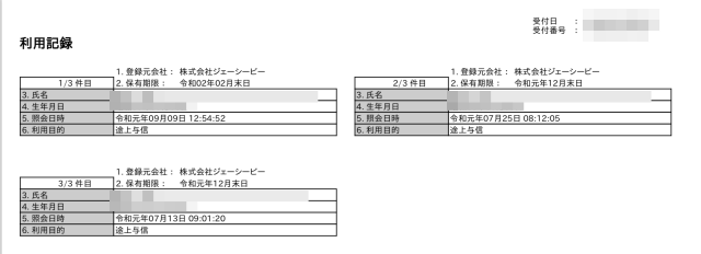 CIC情報JCBの利用記録